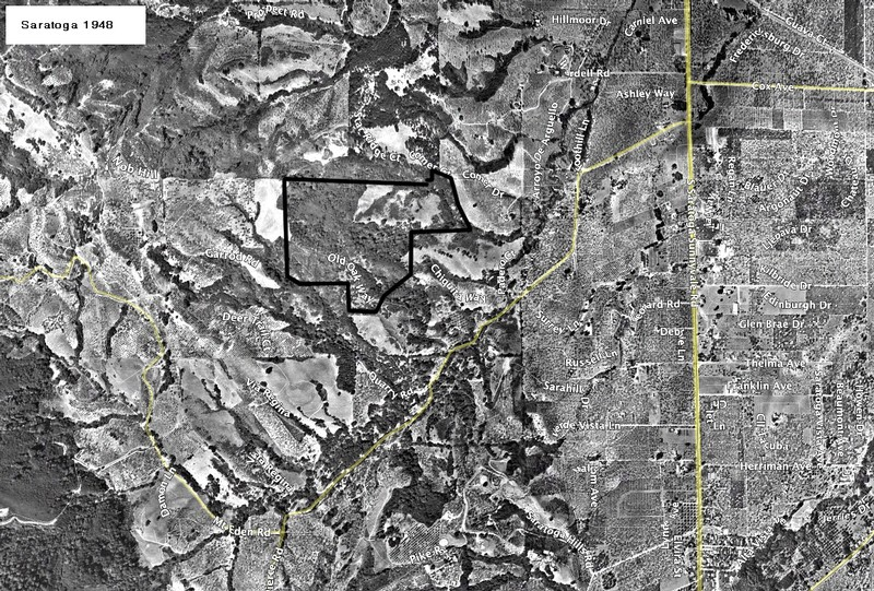 An aerial view of Saratoga from 1948 Google Maps